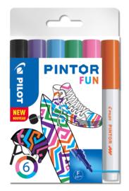"""PILOT Pintor Pigmentmarkers 2.9 mm / Fine Tip  set van 6 """"Fun Mix"""""""