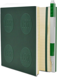 LEGO® 2.0 Locking Notebook kleur Groen  met een LEGO® Gel Pen