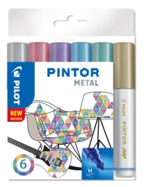 "PILOT Pintor Pigmentmarkers 4.5 mm / Medium  Tip  Set van 6 ""Metal Mix"""
