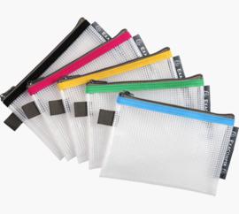 Transparante Zipperbags ft A6 Set van 5 | Blauw - Geel - Groen - Rood en Zwart