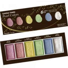 Kuretake Gansai Tambi Water Colours - Shimmering Pearl Colors - Set met 6 Napjes
