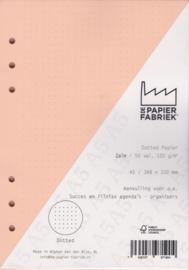 Aanvulling A5 geschikt voor o.a. Filofax, Succes Losbladige Planners 50 Vel, 120gr/m² Dotted Zalm Papier