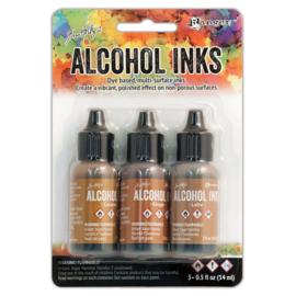 Tim Holtz Alcohol 14ml  ink x 3 Cabin Cupboard