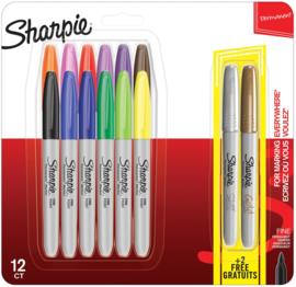 Sharpie Permanente Markers Pastel, Set van 12 stuks + 2 GRATIS