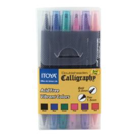 Itoya Dubbelzijdige Kalligrafiepennen   Set  CL-100 6 Kleuren Assorti