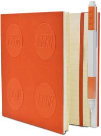LEGO® 2.0 Locking Notebook kleur Oranje  met een LEGO® Gel Pen
