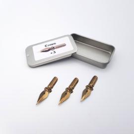 Leonardt No. 41  - the Crown  Nibs - Kroontjespennen Set van 3 in Handig Schuifdoosje