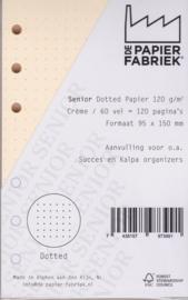 Senior formaat  150 x 95mm Cremè Dotted Papier