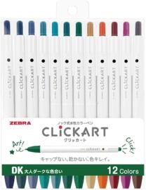 Zebra Clickart Knock Sign 0,6mm Pennen Set van 12 Donkere Kleuren