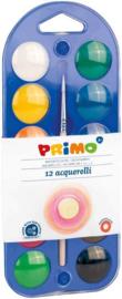 Primo: Waterverf Set voor Kids Verfdoos met 12 Napjes + Penseel en Mengpalet
