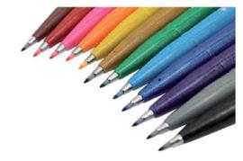 Pentel Sign Pen S520 - Set van 12 verpakt in een Zipperbag