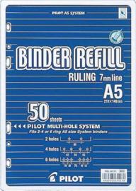 Aanvulling Lijn (Breed) Wit Notitiepapier 50 Vel = 100 Pag. Geschikt voor  A5 Planners - Ringbanden met 2, 4 en 6 boorgaten.