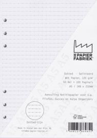 Aanvulling A5 geschikt voor o.a. Filofax, Succes Losbladige Planners 50 Vel, 120gr/m² Dotted - Lijn  Wit Papier