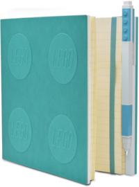 LEGO® 2.0 Locking Notebook kleur Azur  met een LEGO® Gel  Pen