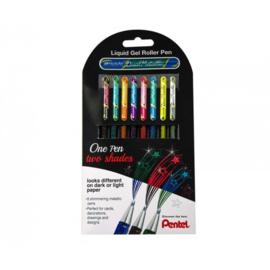 Pentel Hybrid Dual Metallic Shimmering Gel Pen - 1.0 mm - Set van 8