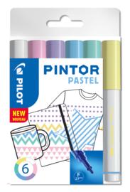 """PILOT Pintor Pigmentmarkers 2.9 mm/ Fine Tip  Set van 6 """"Pastel  Mix"""""""