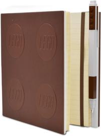 LEGO® 2.0 Locking Notebook kleur Bruin met een LEGO® Gel Pen