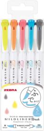 Zebra Mildliner Twin Tip Brushpennen  - Friendly  Colors Set van 5 in een Luxe Zipperbag