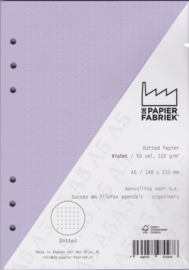 Aanvulling A5 geschikt voor o.a. Filofax, Succes Losbladige Planners 50 Vel, 120gr/m² Dotted Violet Papier