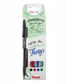 Pentel Handlettering Sign Pen Brush set van 4  Colour  Ink Edition