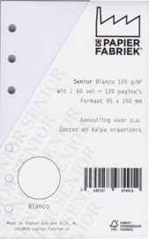 Senior formaat  150 x 95mm Wit Blanco Papier