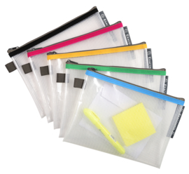 Transparante Zipperbags ft A5 Set van 5   Blauw - Geel - Groen - Rood en Zwart