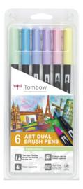 Tombow  Set van 6 ABT Dual Brushpennen Pastel Kleuren