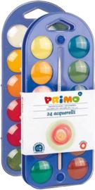 Primo: Waterverf Set voor Kids Verfdoos met 24 Napjes + Penseel en Mengpalet