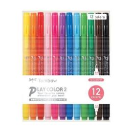 TombowPlay Color 2 Double-Sided Marker - 0.4 mm / 1.2 mm - 12 Kleuren Set