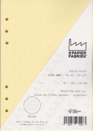 Aanvulling A5 geschikt voor o.a. Filofax, Succes Losbladige Planners 50 Vel, 120gr/m² Dotted Licht Geel Papier
