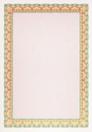 Diploma / Certificaat Papier  Schelp Oranje Turkoois ,   25 Vel Formaat A4  = 210 x 297 mm 115g/m²