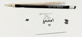 Minikaart/kadokaartje 'dankjewel voor dit toffe jaar!'
