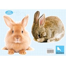 Muursticker konijnen set van 2