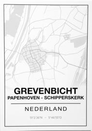 kaart/mini-poster A5 grevenbicht-papenhoven-schipperskerk
