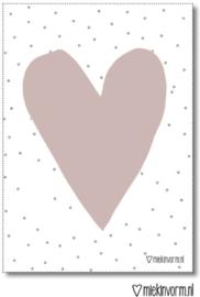 a4 poster hart oud roze met stipjes