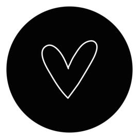 muurcirkel zwart met wit hart 40 cm