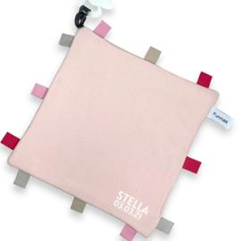 labeldoekje blush roze met naam