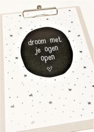 poster a4 droom met je ogen open op klembord