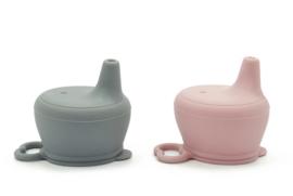 sippy cup - deksel met tuit - in roze en grijs