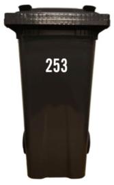 kliko - vuilcontainer - sticker; huisnummer