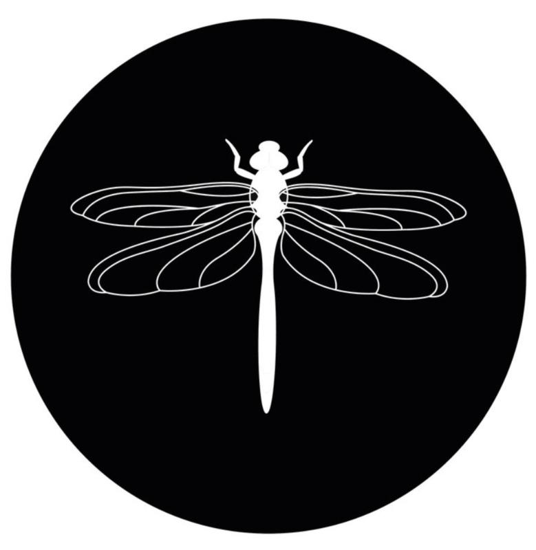 muurcirkel/buitencirkel zwart met witte libelle 40 cm