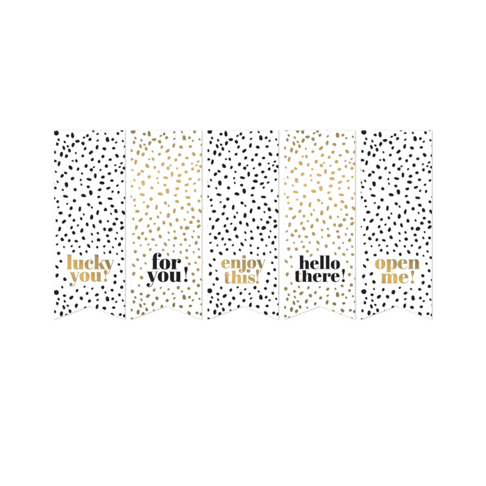 vaantjes cadeaustickers gold/black/white