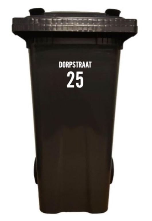 kliko - vuilcontainer - sticker; straatnaam en nummer modern