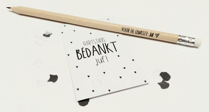 Minikaart/kadokaartje 'hartstikke bedankt juf♡!'