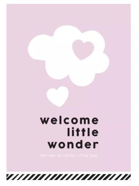 kaart 'welcome little wonder (you are so loved, little one)' roze
