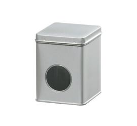 Theeblik met venster zilver 100 gram