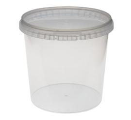 Plastic bakje rond met deksel 1500 ml