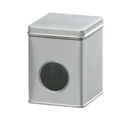 Theeblik met venster zilver 250 gram