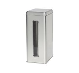 Theeblik zilver met venster 500 gram