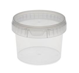 Plastic bakje rond met deksel 600 ml